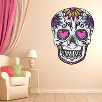 "Mexican Sugar Skull Daisy Wall Decal dia de los muertos Art Vinyl Wall Decal Graphics 22""x16.5"" Home Decor 04"
