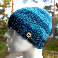 Handknit warm mens hat - slouchy striped beanie, handknit from 100% fine wool in light and dark blue, perfect holiday gift for her or him