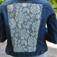 Lace Denim Jacket Coachella Festival Clothing Lace Clothing Denim Jackets Lace Jacket Ivory Lace Sexy Denim Jacket Lace Clothing