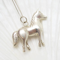 Large Sterling Horse Pendant Necklace Figural Jewelry