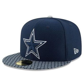 Dallas Cowboys New Era 59FIFTY NFL On Field Sideline 2017 Fitted Cap 5950 Hat