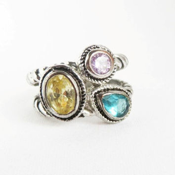 Vintage Boho Silver Tone Ring - Pink Yellow Aqua Glass Costume Jewelry, Size 6