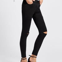 Knee Rips Raw Hem Skinny Ankle JeansFor Women-romwe