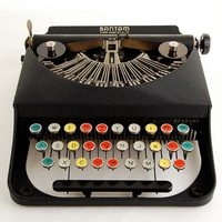 Remington Bantam Typewriter w/ Color Glass Keys
