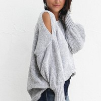 Holding You Stone Gray Chenille Cold Shoulder Sweater