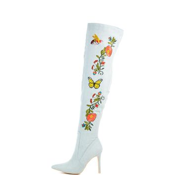 Cape Robbin Mini-110 Light Blue Women's Heeled Boots