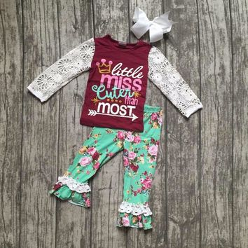Girls Boutique Outfit  little miss cuter than most  with bows