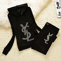 YSL Autumn And Winter New Fashion Diamond Letter Hooded Long Sleeve Coat And Pants Sports Leisure Two Piece Suit Black