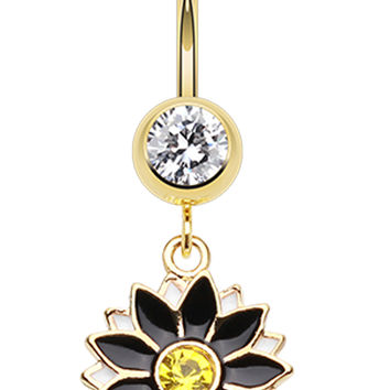 Golden Colored Daisy Blossom Flower Belly Button Ring