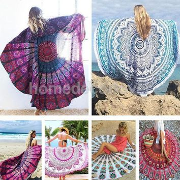 Round Cotton Indian Tapestry Hippy Boho Gypsy Wall Hanging Beach Towel Tablecloth Yoga Mat Decor Bohemian 56'