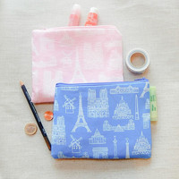 Make Up Bag/ Mothers Day Gift/ Gift for Her/ Gift for Wife/ Sister Gift/ Birthday Gift/ Paris Pencil Case/ Best Friend Gift/ Teacher Gift