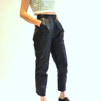 high waisted leather trousers / minimalist black tapered pleated leather pants size 25