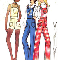 70s womens overalls or retro bibbed shorts vintage sewing pattern Butterick 6155 Bust 30 Teen Small