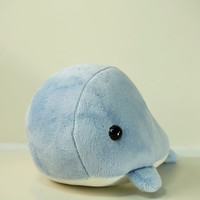 Cute Bellzi Stuffed Animal Blue w/ White Contrast Whale Plushie Doll - Whali