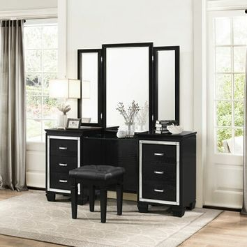 3 pc Allura collection black with faux alligator finish wood bedroom make up vanity set