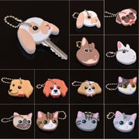 New Arrival PVC Cute Rabbit Pet Dog Cat Key Cover Cap Rubber Pug Key Chain Key Ring Men Women Unisex