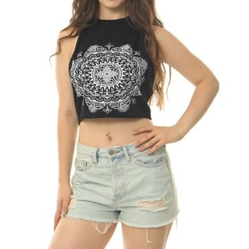 Allegra K Women's Halter Neck Self Tie Back Novelty Print Cropped Top Black (Size S / 4) - Walmart.com