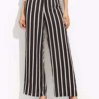 Striped High Waist Wide Leg Pants