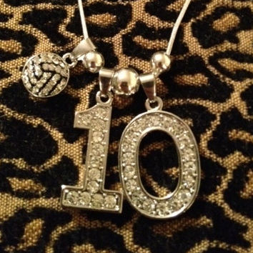 "22"" Personalized Rhinestone Sports Jersey TWO Number Necklace Volleyball Charm"