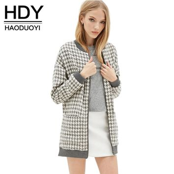 HDY Haoduoyi Fashion Casual Chic Women Coats Plaid Slim Double Pockets Zipper Fly Outwear Autumn Soft Preppy Style Trench Coat