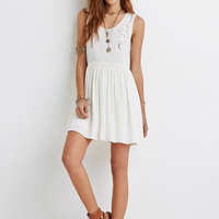 Embroidered Cutout Babydoll Dress