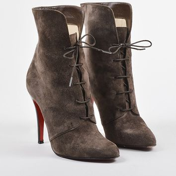 KUYOU Christian Louboutin Brown Suede Lace Up Mid Calf Stiletto Boots
