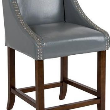 "Carmel Series 24"" High Transitional Walnut Counter Height Stool with Accent Nail Trim in Light Gray Leather"