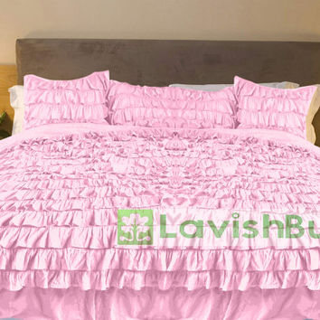 1000TC Egyptian Cotton Pink Ruffle Duvet Quilt Cover Set 3pc - Available in All Size