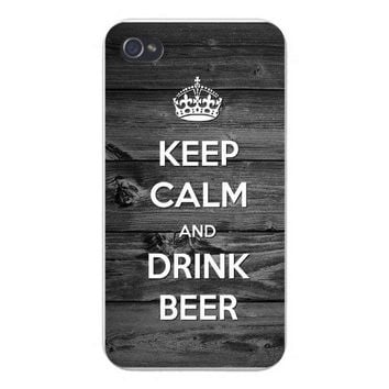 Apple Iphone Custom Case 4 4s Snap on - 'Keep Calm and Drink Beer' Wood Grain Background