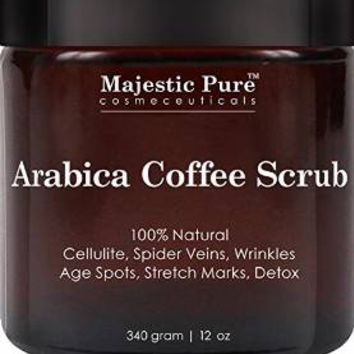 Arabica Coffee Scrub From Majestic Pure Helps Reduce Cellulite, Wrinkles, Stretch Marks, Spider...