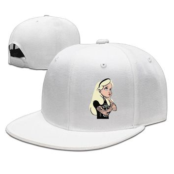 Twisted Alice In Wonderland Tattoo Breathable Unisex Adult Womens Hip-hop Caps Mens Flat Brim Hats