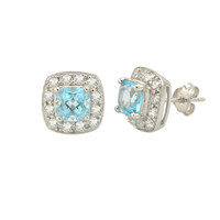 Blue Topaz Gemstone Stud Earrings 925 Sterling Silver Square Micropave CZ Accent