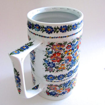 Floral Polish Beer Stein, Multi Color Flowers, White Ceramic, Artist Signed....vintages