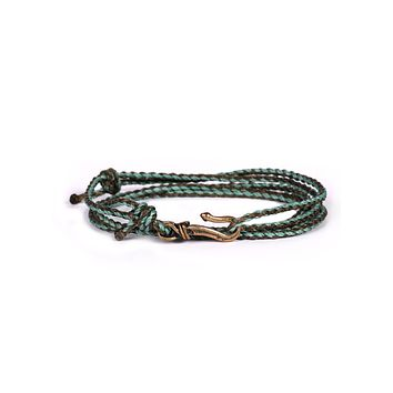 Brown + Turquoise Braided Rope Men's Bracelet