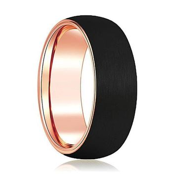 Domed Black Tungsten Wedding Band With Rose Gold Inlaid Inside 6mm & 8mm