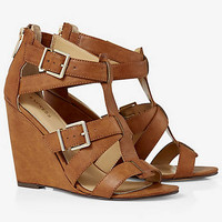 BUCKLED CRISSCROSS WEDGE SANDAL from EXPRESS