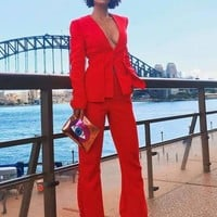 Anyssa Red Buttons Pants Suit