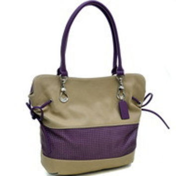 Two Tone Mesh Panel Shoulder Bag With Drawstring Accents