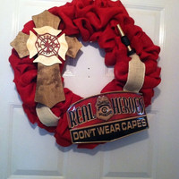 Firefighter Wreath,Firefighter Burlap Wreath,Firemen Wreath,Firemen Burlap Wreath,Firehouse Wreath,Firehouse Decor,Firemen Decor,EngineDecor