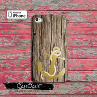 Anchor Gold Wood Grain Boat Sailor Cute Tumblr Custom iPhone 4 and 4s Case and Custom iPhone 5 and 5s and 5c Case