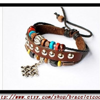 Rock Punk Style Soft Leather Multiclour Ropes by braceletcool
