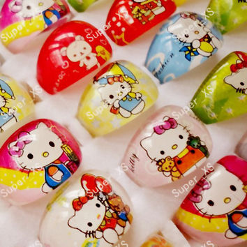 10Pcs Cute Cartoon Lovely Animation Hello Kitty Resin Plastic Rings for Children Kid Girls Whole Bulk Jewelry Mixed Lots BK401