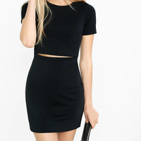 Black Short Sleeve Slitted Waist Mini Dress from EXPRESS