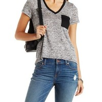 Marled Knit Ringer Tee by Charlotte Russe
