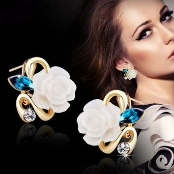 ac spbest Hot 5 colors optional fashion crystal flower earring Exquisite quality classic gold-color rose earrings creative gifts