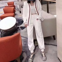 """""""Gucci"""" Women Casual Letter Print Stripe Pocket Embroidery Sweatpants Couple Thickened Leisure Pants Trousers"""