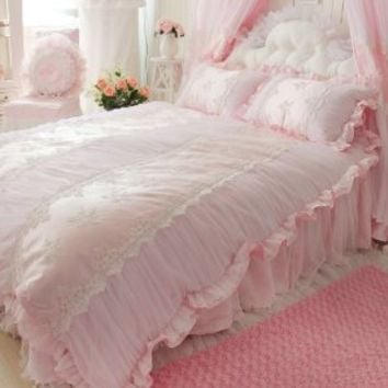 DIAIDI,Korean Style,Romantic Pink Bedding Sets,Princess Lace Ruffle Embroidery Comforter Sets,Luxury Wedding Bedding,Twin Queen King,4Pcs (KING)