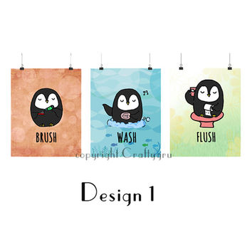 Wash Brush Flush SET OF 3, 2 Designs, Bathroom Wall Art, Children Wall Art, Penguin Wall Art, Bathroom Print, 8 x 10/A4