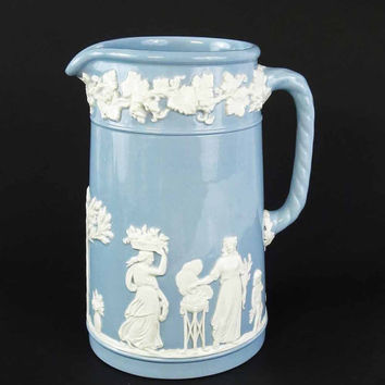 Wedgwood Queens Ware Pitcher, Etruia and Barlaston Embossed White on Blue, Vintage Wedgewood Pottery, Queensware