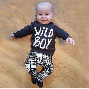 Baby boy clothes set fashion cotton long-sleeved T-shirt + trousers letter newborn baby boy clothes set